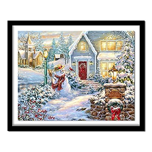 DIY 5D Kits de Pintura de Diamantes Taladro Completo Redondo Muñeco de nieve navidad 30x30cm Cristal Diamantes de imitación bordado de punto de cruz Imagen Artesanía para el hogar Decoración de Pared