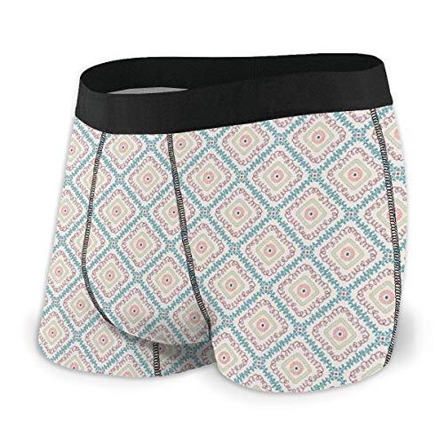 Calzoncillos Boxer para Hombres, patrón étnico Esencial con Elementos geométricos en Tonos Pastel Cuadrados artísticos Talla L