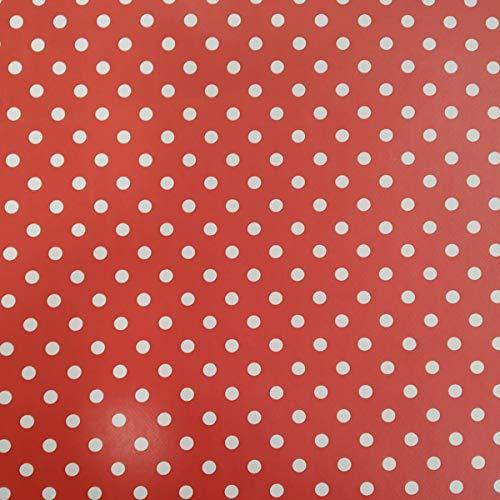 Hule | Mantel Mesa Antimanchas | Mantel Mesa Comedor y Mesa Cocina PVC Impermeable, para Interior y Exterior Diseño Circulos Rojos (140_x_200_cm)
