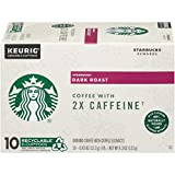 Starbucks Dark Roast Coffee K-Cups with 2X Caffeine | Coffee Pods for Keurig Brewers | 1 Box (10 Pods)