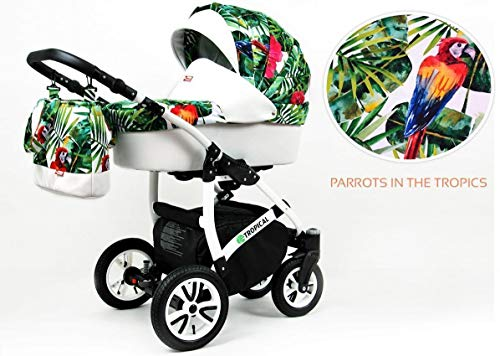 Lux4Kids Kinderwagen Jungle 3in1 2in1 Megaset Buggy Autositz Babyschale Sportsitz Parrots in...