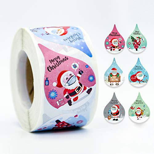 """CICITOTO 1.5'' 2020 Christmas Stickers Santa Claus Stickers Waterdrops Water Droplets Style Label Seals Tags for Cards Envelopes Boxes Sealing Decorations 6 Designs (1.5""""/3.8cm 1 Roll, 500 Stickers)"""