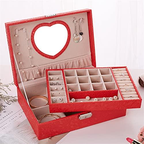 XLBH Almacenamiento de Joyas Jewlery Box Estilo Simple Ornamento Espacio Grande con la Cerradura del Collar de Cuero Accesorios de casa (Color : Red Heart Mirror)