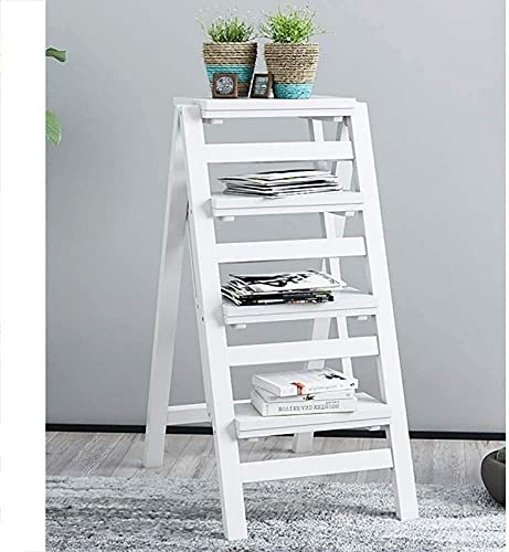 LZXH Flower Stand Plant Rack Step Stool Folding Wood Creative Multi-Function Household Ladder/High Stool/Bar Chair/Bed Table/Shelf/Flower Stand (Size:4 Layers A) Display Stand Home Decor