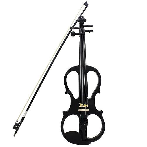 ammoon 4/4 Madera de Arce Violín Eléctrico Instrumento de Cuerdas del Violín Ébano con