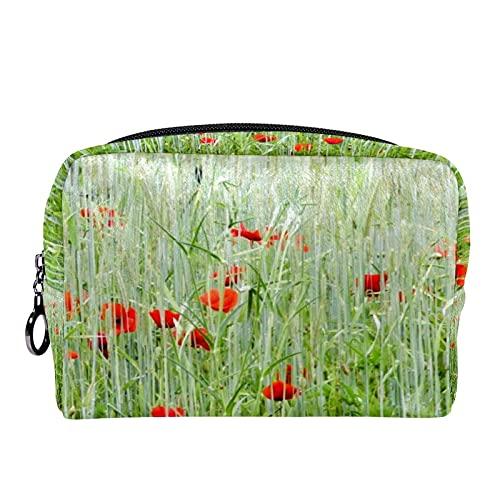 Makeup Tasche Tragbare Reisekosmetiktaschen, Mohn und hohes Gras