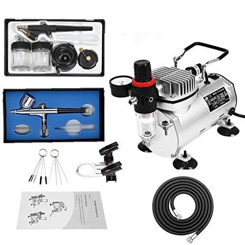 kit aerografo con compresor profesional,1/5HP Compresor de Aire con 2 aerógrafos 0.3mm Acción dual Gravity Feed, Aerógrafo de acción simple de 0.8 mmn