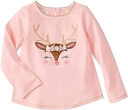 Mud Pie Kids Girls Glitter All The Way Christmas Reindeer Tee Shirt Top Pink