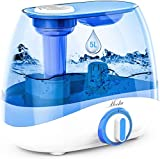 Mooka Humidifier for Bedrooms & Large Rooms, 5L (1.32Gal) Ultrasonic Cool Mist Humidifier for Babies, Lasts up to 50 Hours, Quiet Operation, Auto Shut-Off (BPA-Free)