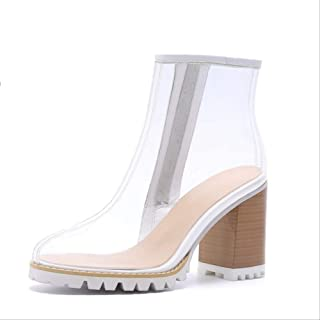 SHZSMHD Primavera Verano Nuevas Botas Transparentes de PVC Sandalias Peep Toe Zapatos Kim Sandalias de Tacones Gruesos Tra...