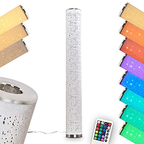 LED Stehlampe Tumba, dimmbare Stehleuchte aus Metall/Stoff in Weiß/Chrom, 8 Watt, 700 Lumen, Lichtfarbe 3000 Kelvin (warmweiß), Standleuchte m. RGB Farbwechsler, Fernbedienung u. Glitzereffekt
