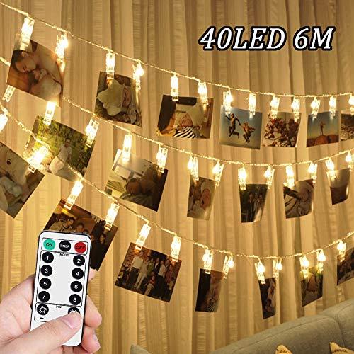 NEXVIN Kerstverlichting met clips voor foto's, 6M 40 LED fotoclips kerstverlichting met afstandsbediening en timer, fotoclips kerstverlichting batterij voor het ophangen van foto's, notities, artwork en meer (warm wit)