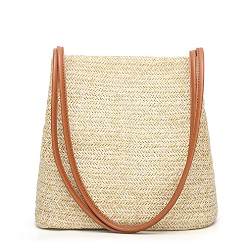 Karenon Tote da spiaggia in lino intrecciato Borsa da sacco in lino intrecciato Erba Tote HandKnitting Rattan D069 Brown shoulder strap