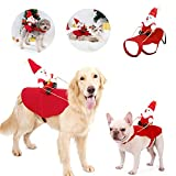 Funny Pet Christmas Costume, Dog Santa Claus Suit, Cat Christmas Holiday Party Outfit, Santa Riding on Pet, Party Dress up Clothing for Cats Small Medium Large Dogs, S - XL