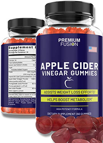 Apple Cider Vinegar Gummies 1000mg ACV Combined with Vitamins B9 & B12 | Each Gummy Infused with Beet & Pomegranate Juice Powder