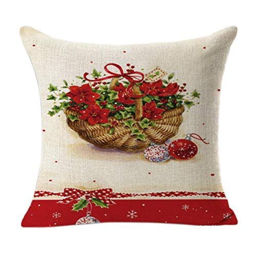 """Winsummer Christmas Throw Pillow Covers Colorful Decorative Couch Throw Pillow Cases Winter Holiday Decoration Cushion Cover for Sofa Couch Cotton Linen Throw Pillow Case 18"""" x 18"""" Pillowcase"""