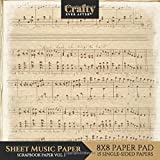 Sheet Music Paper Scrapbook Paper: Vintage Music Print Design 8x8 Single-Sided for Crafts Card Making Origami Scrapbooking Paper Pad 15 Sheets