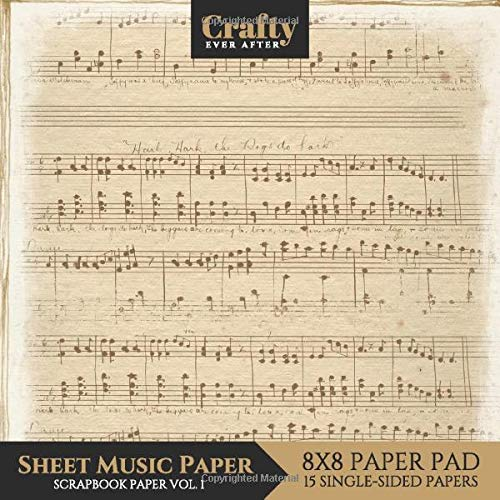 Sheet Music Paper Scrapbook Paper: Vintage Music Print Design 8x8 Single-Sided for Crafts Card Making Origami Scrapbooking Paper Pad 15 Sheets (Decorative Craft Paper, Band 5)