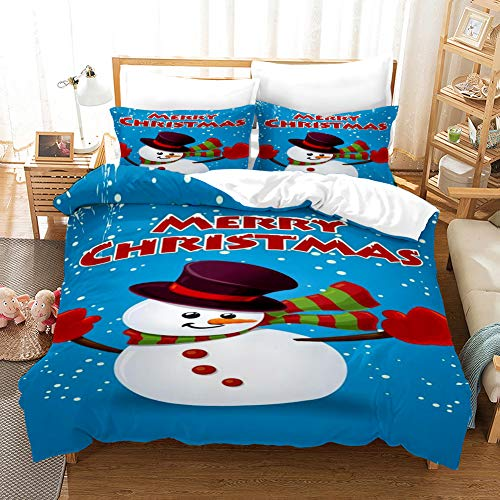 Duvet Cover Bedding Set White blue red green purple christmas snowman Single 53.15 x 78.74 inch Ultra Soft Easy Care With–Hotel Quality Bedding Sets 2 Pillowcase19.68 x 29.53 inch