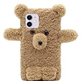 MC Fashion iPhone 11 Pro Max Case, Cute 3D Bear Winter Plush Case, Protective Flexible Soft TPU Case for Apple iPhone 11 Pro Max 6.5 inch 2019 (Light Brown)