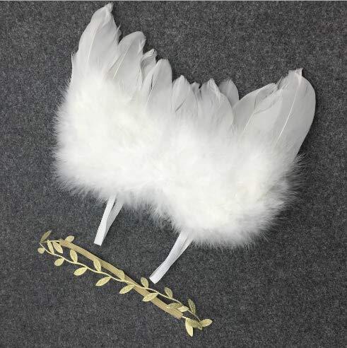 ruiruiNIE Bebé elástico Nacido Hojas Diadema + Pluma Alas de ángel Disfraz Bebé Fotografía Accesorios CRA(Alas...