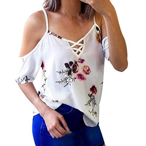 Camiseta sin tirantes floral gasa de mujer,Ba Zha Hei Nueva Blusa de Mujer Camisetas de Manga Corta con Cuello Redondo Camiseta Suelta a Rayas Vestido sexy blusa tops mujer ropa deportivo Chaleco