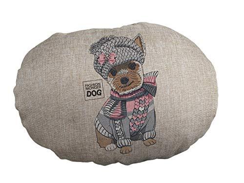 FASHION ANIMALS Cuscino Ovale Juta Animali Domestici per Cani Gatti con Personaggi in Stampa Digitale 3 Misure 8 Modelli Lavabile in Lavatrice (60x40x15 Cm, Il Cucciolo)