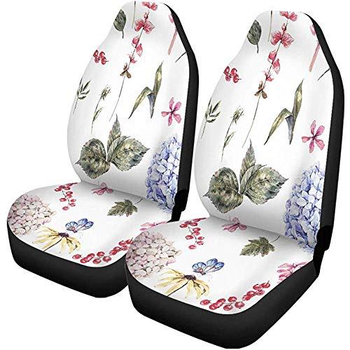 Fall Ing Stoelhoezen voor auto Shabby Aquarel Floreale Vintage bloesem Ortensia Ribes rood veldbloemen automatische hoezen voor universele stoelen