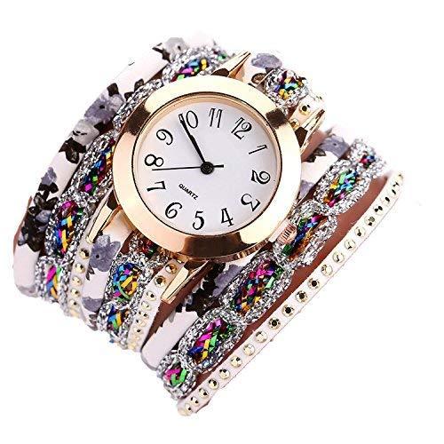 Mixe Korean Luxury Wrist Watch Quartz Diamond Bracelet Ladies Women's Charm Leather Strap Jewelry Fashion Bangle (White)