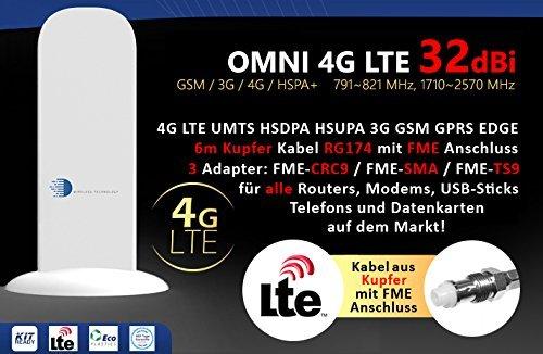 HUKITECH 4G LTE UMTS HSDPA 3G GSM antenne met 32dBi winst 6 meter kabel - geschikt voor bijna alle Vodafone, O2 en T-Mobile 4G en 3G modems, routers, USB-sticks en datakaarten op de markt