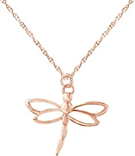 14K Gold Over Sterling Silver Dragonfly Charm Pendant Necklace