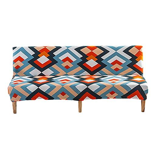Funda de sofá Cama sin Brazos Funda de sofá elástica de poliéster Sin apoyabrazos Protector de sofá Estampado Plegable Sofá Plegable Completo Protector de sofá Protector de sofá