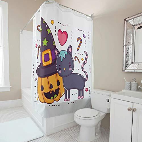 Gamoii Halloween Kürbis Katze Duschvorhänge Bad Vorhang Badezimmer Gardinen Wasserabweisend Badvorhang mit Vorhanghaken White 150x200cm