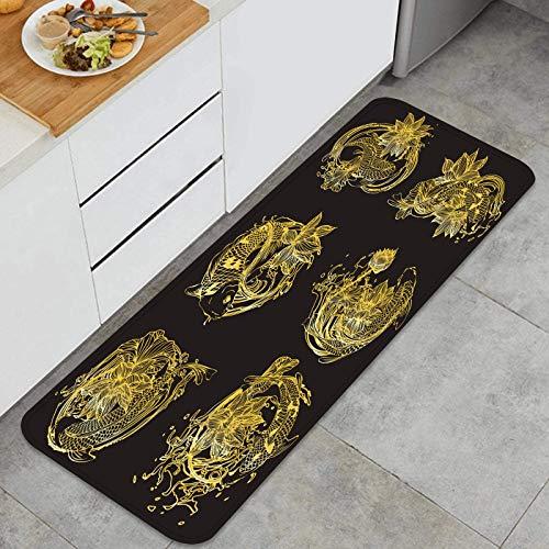Alfombra de Cocina Antideslizante,Establecer Vector Pintura Lotus koi antecedentes,Estera de Cocina Felpudos Decorativo Alfombra para Dormitorio Baño Pasillo 45 x 120cm