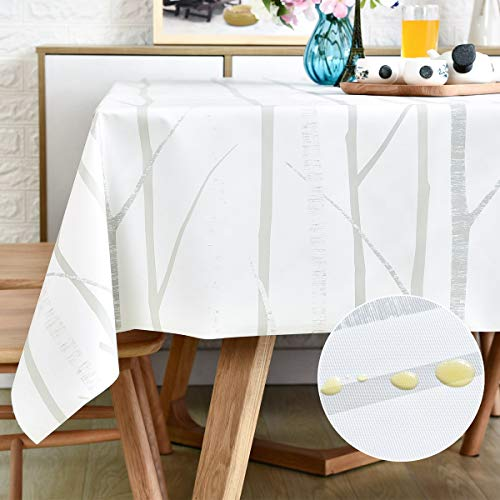 Vinyl Oilcloth Tablecloth Small Oblong Waterproof Spillproof Wipeable PVC Heavy Duty Plastic Tablecloths Weights for Summer Outdoor Rv Picnic Table Cloth - 6 ft White Tree 54 x 72 Inch
