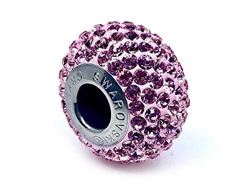 Charm Cristal Swarovski® 80101 abalorio Becharmed Cristal Acero Inoxidable 14x4,5mm 80101. Compatible Pulseras Tipo Pandora, Chamilia, Swarovski, Missy Jewels. Rose Light
