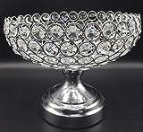 Cesta de frutas de hierro forjado plateada con cuentas de cristal candelabro Arreglo de Frutas de Centro de Mesa Aluminio Fundido con simil Cristal frutera diámetro 22cm