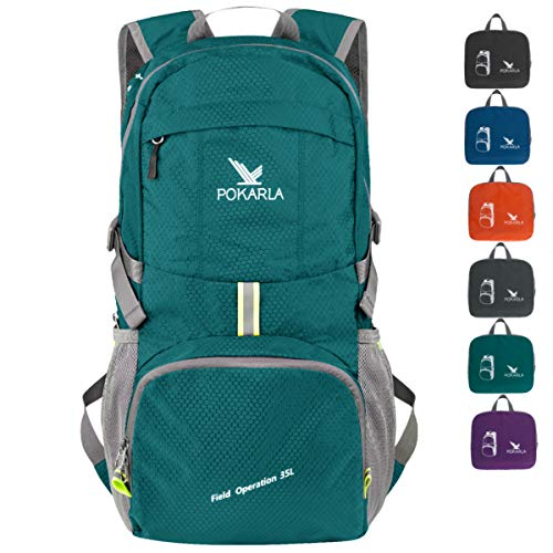 POKARLA 35L Foldable Rucksacks Durable Lightweight Backpack Water Resistant Travel Hiking Daypack Packable Carry On Bag Unisex Outdoor Sports Green