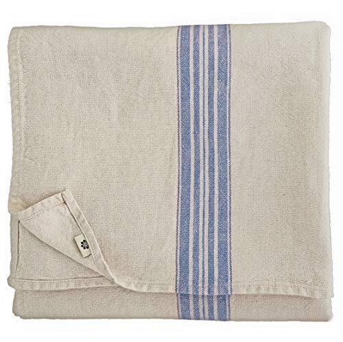 Linen & Cotton Vintage Shabby Chic Rustikal Tischdecke Provence - 100% Leinen, Beige Natur Blau (136 x 300 cm) Tischtuch Stoff Tischwäsche Rechteckig Lang für Home Küche Dekoration Wohnzimmer