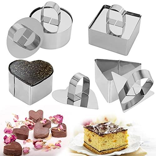 Roestvrijstalen taartringen, 3 x 3 inch Dessert Mousse en gebak bakvorm, set van 4 vormen (4 vormen, 4 pushers) voedselringen kookringen