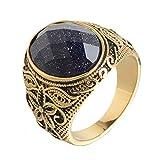 Unisex Vintage Ringe Gold Boho Bali Stil Antik Rundschnitt Anweisung Lapislazuli Edelstein Edelstahl handgefertigt Retro hochglanzpoliert gemustert Herren Damen Band Ring