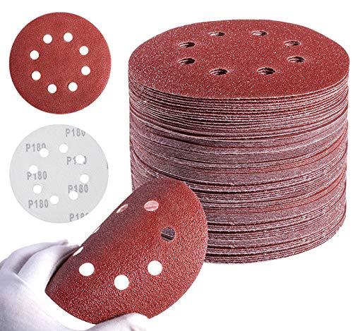 MIDO Professional Abrasive Sanding Disc 5 Inch 8 Hole Hook and Loop sanding pads for orbital sander 40/60/80/120/180/240/320 Grits-Pack of 72