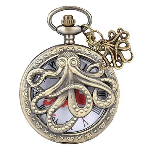 L.BAN Harf Hunter Taschenuhr Octopus Pattern Hollow Cover Blumengravur Roman Ziffer Quarzlegierung Halskette Uhr für Männer Frauen