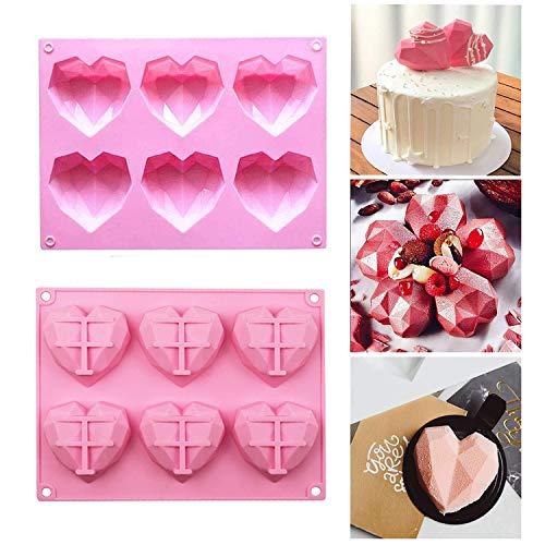 Kuchen Schokolade Silikonformen 2 Stück mit 6 Mulden 3D Liebesherz Diamant Kuchen Form SeifePudding Handgefertigte Backutensilien DIY Werkzeug