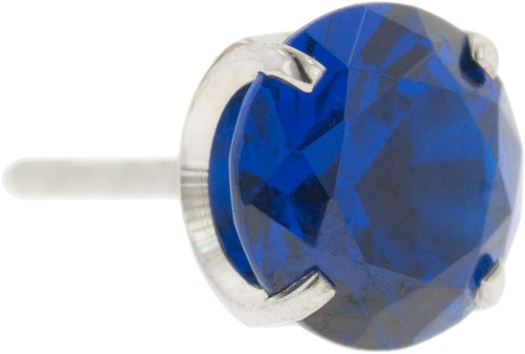 Steel Navel Body Jewelry Threadless Titanium Prong-Set Faceted Gem End: 18g High Polish, Gem: 1.5mm, Sapphire Gem