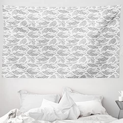 ABAKUHAUS Kakao Wandteppich & Tagesdecke, Grunge Sketchy graue Bohnen, aus Weiches Mikrofaser Stoff Wand Dekoration Für Schlafzimmer, 230 x 140 cm, Pale Grau Weiß