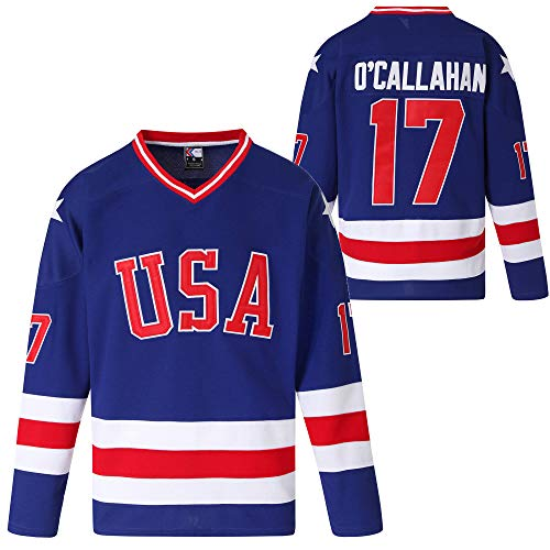 MOLPE USA 21 17 30 Ice Hockey Jersey (17-Blue, L)