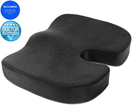 NOVIMED Coccyx Medical Orthopedic Memory Foam Seat Cushion With ANTI-SLIP Bottom For Sciatica,Low Back Pain,Herniated Disc,For Chairs,Travel Accessories-Gives Relief From Tailbone Pain