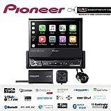 Pioneer AVH-3500NEX 7' Single Din DVD Receiver Apple CarPlay Built in Bluetooth with SiriusXM Satellite Radio SXV300v1, Backup Camera Bundle with Sound of Tri-State Lanyard