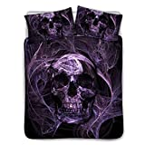 BIGCARJOB Fashion Skull Printed Quilts Cover Purple Comforter Covers with Pillow Case for Boys Mens Dormroom Black Lining Queen Size 88x88inches